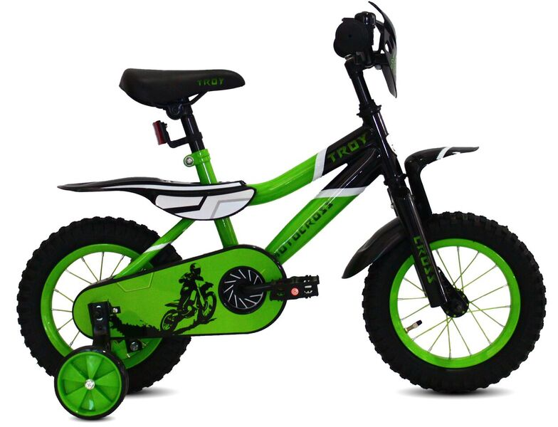 "Motocross 12"" jongensfiets Black-Green"